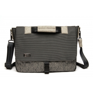 Laptop Bag - Quilted fabric pocket with black hardware