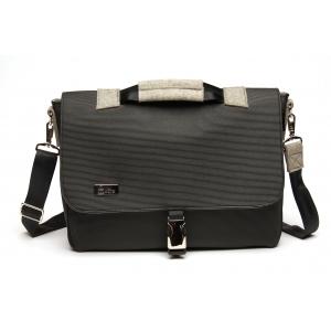 Laptop Bag - Black with nickel hardware